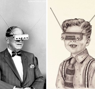 The image shows a man on hte left and a lady on the right. Both are wearing strange contraptions over their eyes. The ladies contraption has 2 ariels