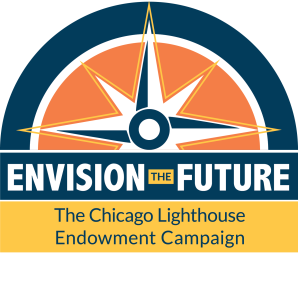 Envision the Future logo. A half circle in blue orange and yellow with a large compass in the center