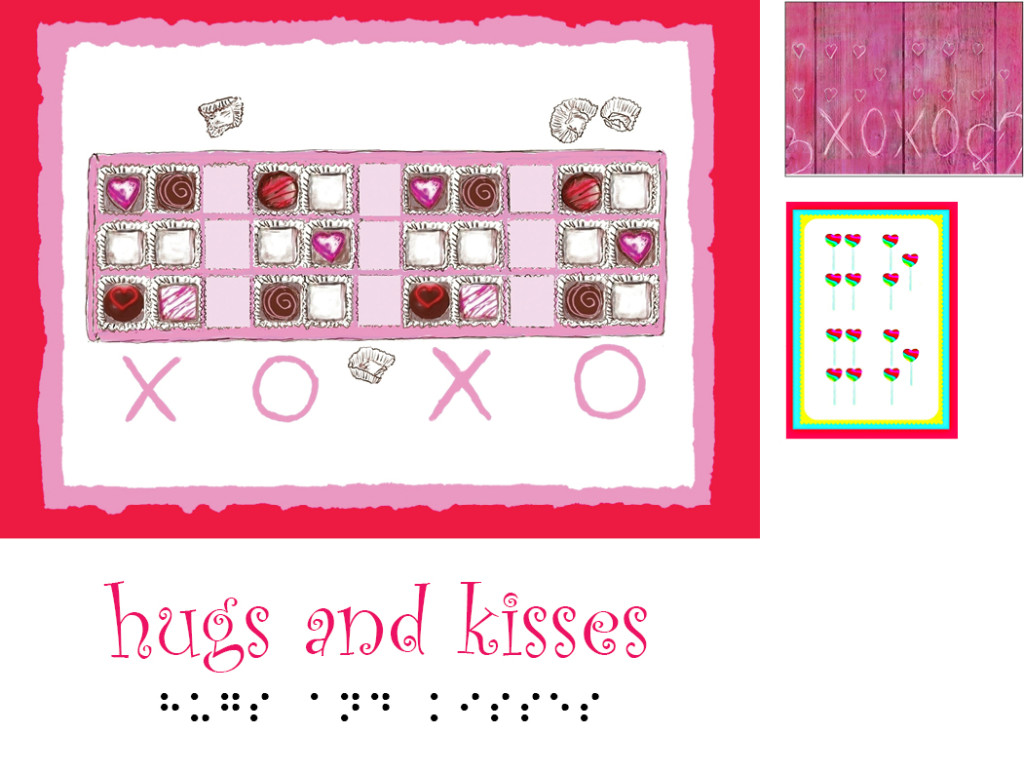 Sample of inBraille hugs and kisses greeting cards