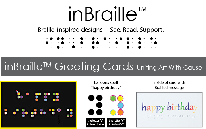 inBraille greeting card logo and samples of how Braille works