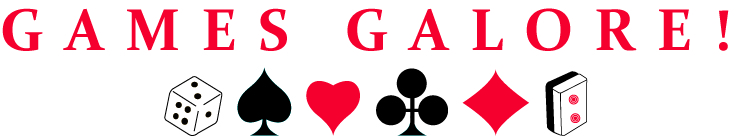 Games Galore graphic with a die, spade, heart, club, diamond and MahJongg tile