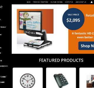 The image shows the homepage of the new website. The page is black with white text. An orange and white  banner along the top shows a CCTV which is advertized at $2095.