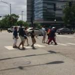 Group crosses the street