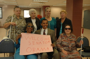Barack Obama visits with several Lighthouse clients