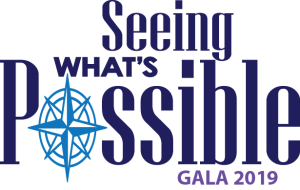 Seeing What's Possible Gala 2019 logo where the oh in possible is replaced with a compass