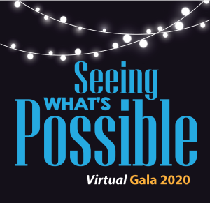 The Seeing What's Possible Virtual Gala 2020 logo against a dark background with Italian mini-lights overhead
