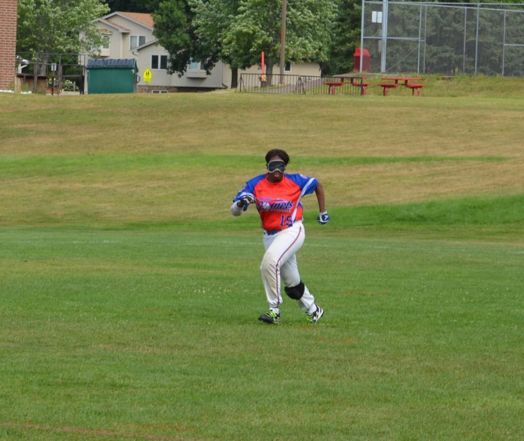 Kalari runs while playing beep ball.