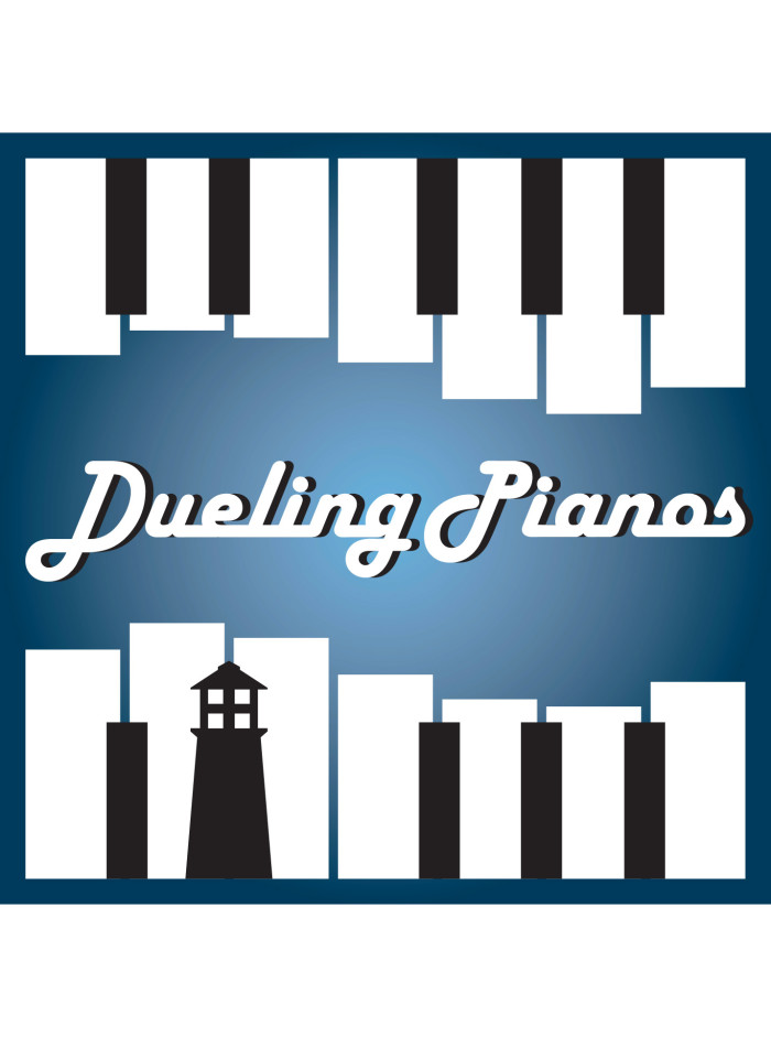 "Black and white keys on a blue background, ""Dueling Pianos"" in the middle"