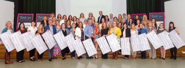 17 poster-sized checks are displayed by various recipients of donations from the Hinsdale Junior Women's Club