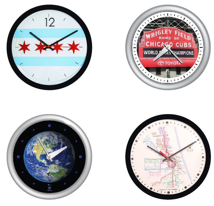 Chicago Flag clock, Wrigley Field sign clock,Globe clock, CTA clock