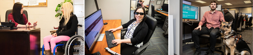 A trio of images: A young woman in a wheelchair meets with an employment counselor at The Chicago Lighthouse; A woman who is visually impaired works in our call center using ZoomText to be able to view her computer screen; A male customer care representative poses with his guide dog in one of our call centers