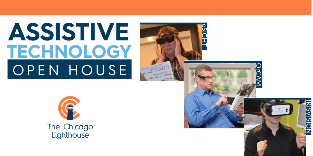 Assistive Technology Open House showing photos of clients wearing: eSight, OrCam, IrisVision