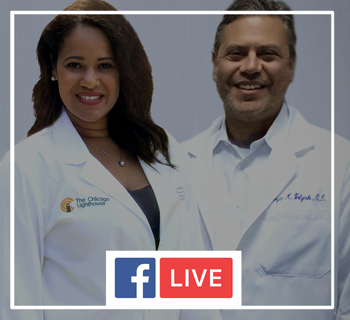 A female researcher and a male optometrist side by side wearing white lab coats. Includes the Facebook Live icon