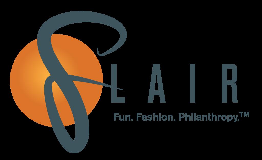 Text: FLAIR Fun. Fashion. Philanthropy; Logo with a large orange circle behind the F in FLAIR