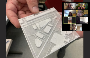 Students on a zoom call take a virtual tour of a Chicago neighborhood using 3d maps