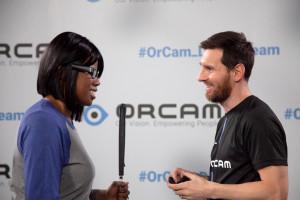 Kalari Meeting Messi wearing an Orcam device