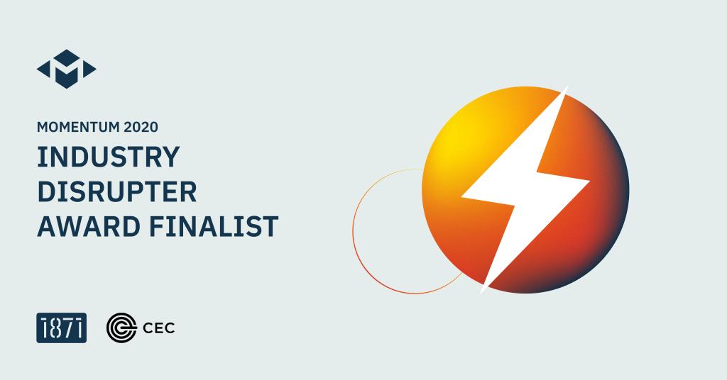 Momentum 2020, Industry Disrupter Award Finalist, lightning bolt in circle logo