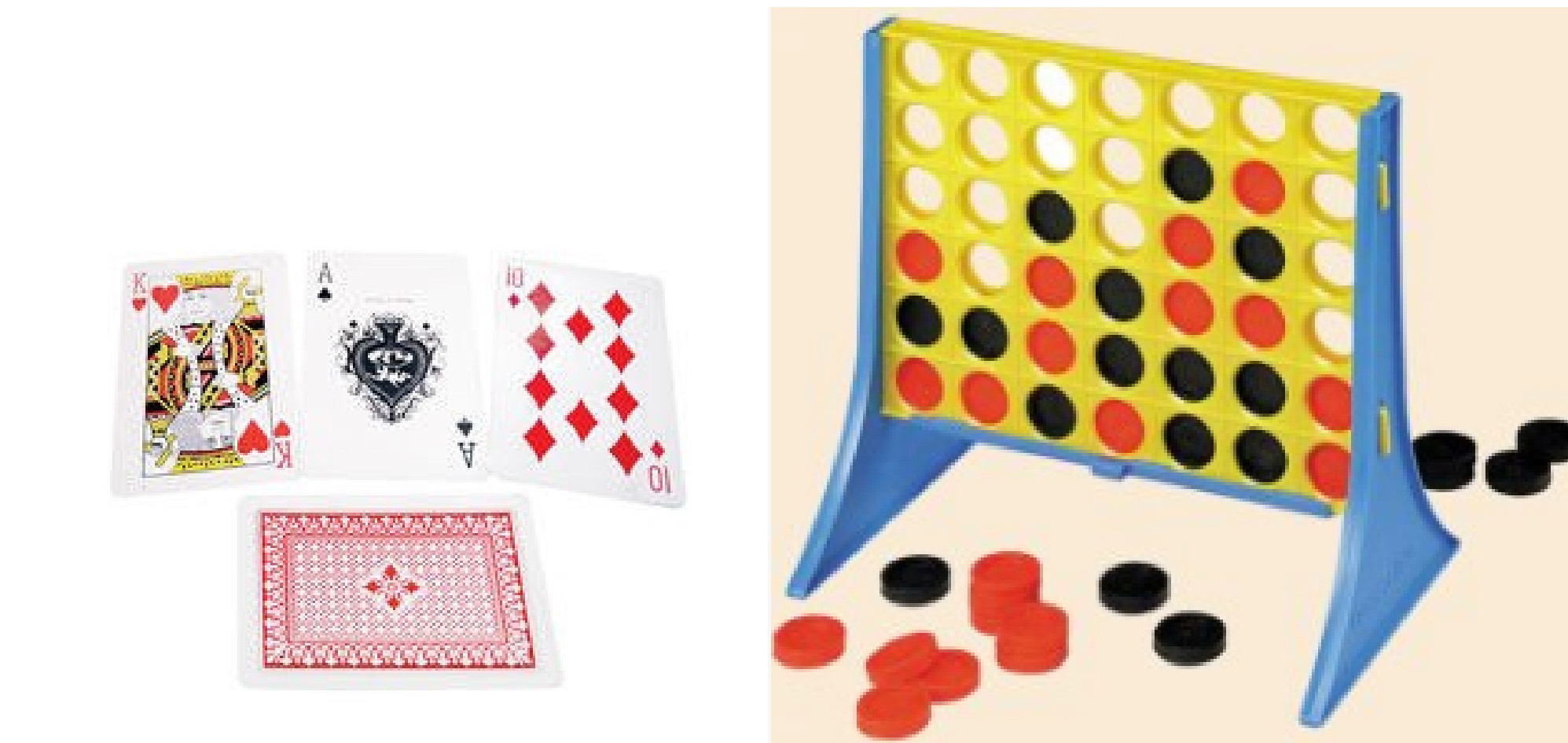 brailled playing cards, tactile connect four