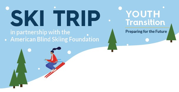 Ski Trip, in partnership with the American Blind Skiing Foundation. Illustration of person skiing down a snowy hill