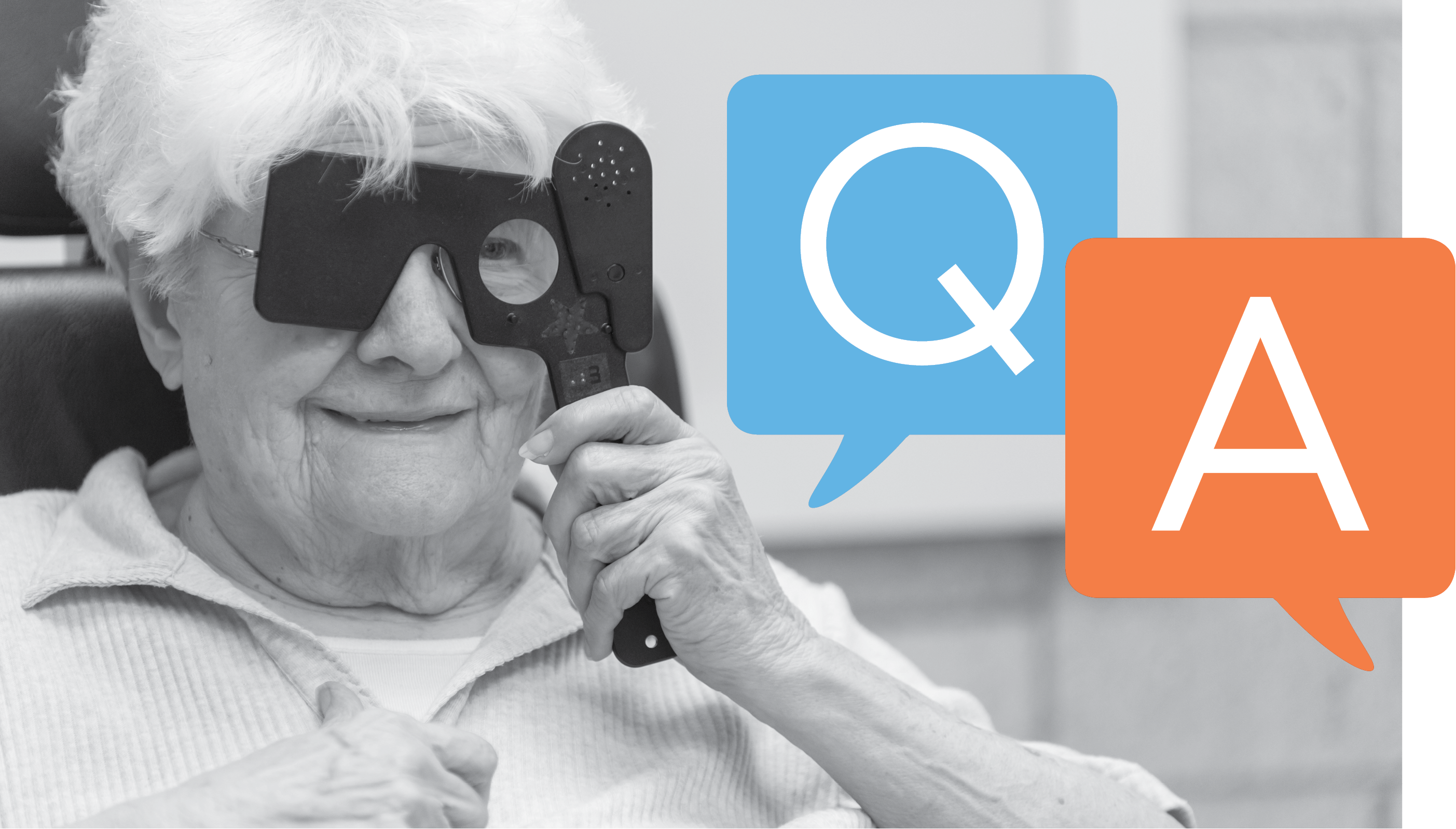 Low vision patient in an exam. Q&A over picture in speech bubbles