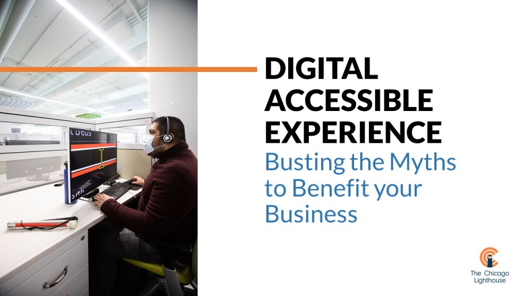A person who is visually impaired uses Zoom text to work. TEXT: Digital Accessible Experience, Busting the Myths to Benefit your Business
