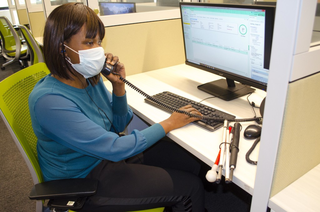 Kalari is pictured working at her desk.